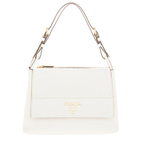 Prada Women's Vitello Daino Flap Shoulder Bag White