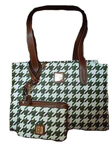 Dooney Bourke Houndstooth Small Shopper & Med Wristlet Green