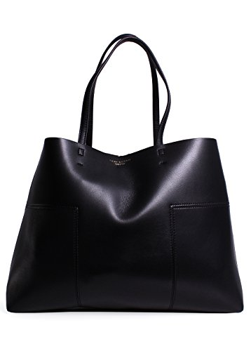 Tory Burch Block-T Leather Tote- Black