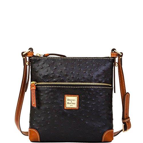 Dooney & Bourke Ostrich emb leather Letter Carrier Black