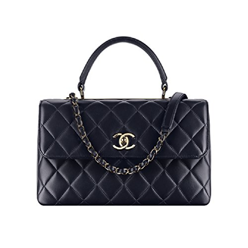 Chanel Flap Bag Top Handle Lamskin Article: A69923 Y60767 2B941 Navy Blue Made in France