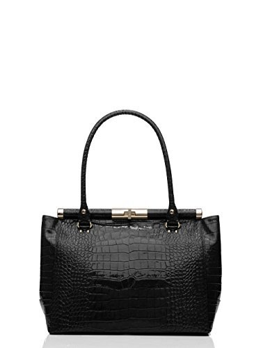 Kate Spade 'Knightsbridge' Croco Embossed Patent Leather Constance Tote, Black