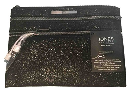 Jones New York Signature Charging Clutch Pouch Black Sugar Crystal Zip Closure