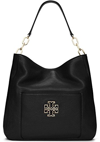 Tory Burch Britten Pebbled Leather Hobo – Black