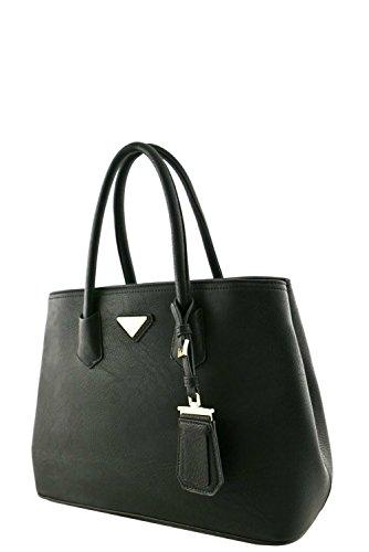 Women's Designer Faux Leather Rear Zipper Pocket Top Handle Bag VA2003 Black