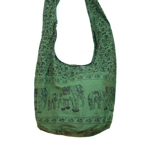 Thai Monk Buddha Cotton Elephant Sling Crossbody Messenger Bag Shlouder Purse Hippie Hobo Color Green
