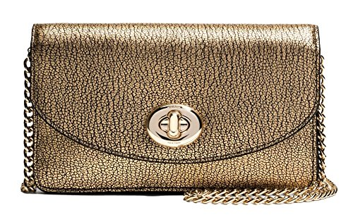 Coach Metallic Pebbled Leather Clutch Gold Crossbody Purse, 53589-LIGLD