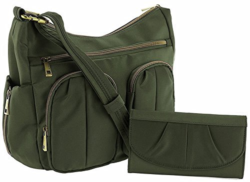 Travelon Anti-Theft Twin Pocket Bucket Bag – Olive