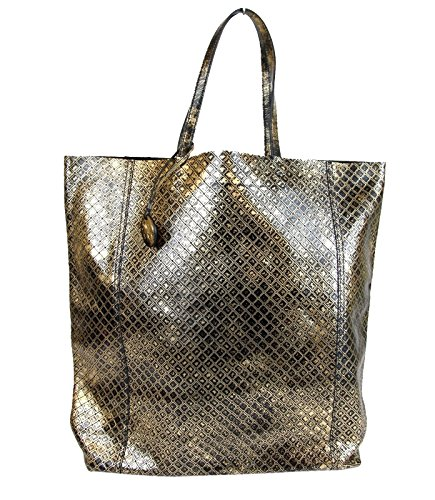 Bottega Veneta Gold and Black Intrecciomirage Leather Tote Bag 298779 8414