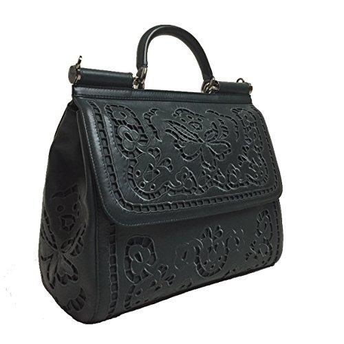 DOLCE & GABBANA Miss Sicily Large Floral Lace Laser Cut Out Green Nappa Bag Handbag Purse