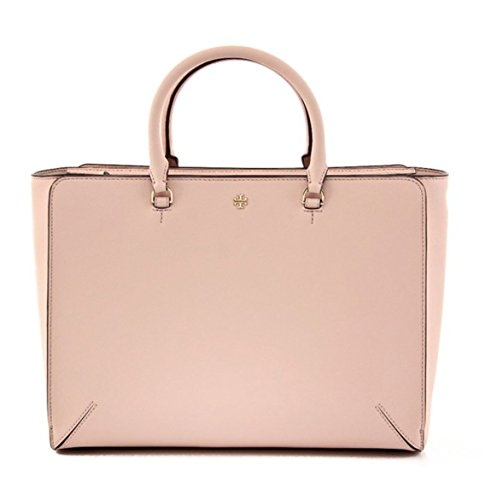 Tory Burch Robinson Large Leather Pale Apricot Zip Top Tote