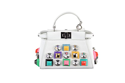 Fendi Womens Micro Peekaboo Bag – White Leather