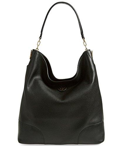 Tory Burch Leather Whipstitch Logo Hobo Shoulder Black Bag
