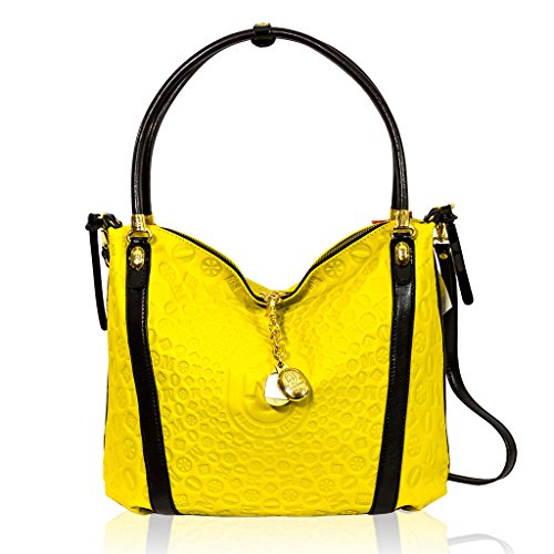 Marino Orlandi Italian Designer Yellow Ray Monogram Leather Large Crossbody Bag