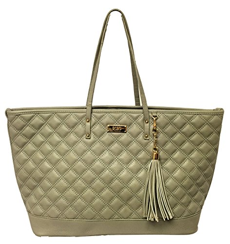 BCBG Paris Quilted Faux Leather Tote Womens Purse Grey Color