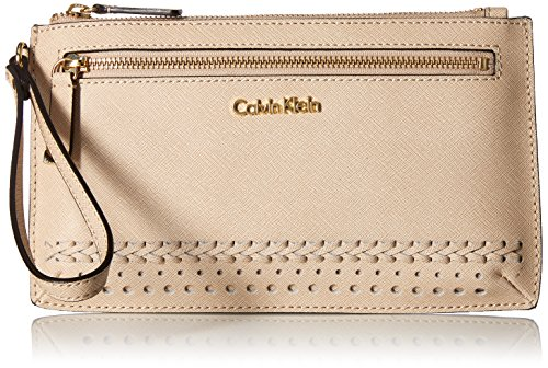 Calvin Klein Saffiano Novelty Wristlet, Wheat Braid
