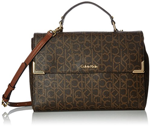 Calvin Klein Hudson Monogram Satchel, Brown/Khaki/Luggage Saffiano