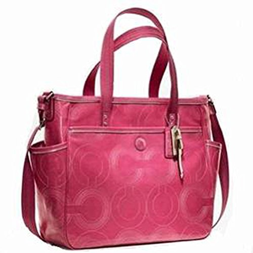 Coach Stitched Patent Tote Leather Diaper Baby Bag 19911 Pink Crimson