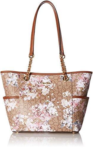 Calvin Klein Key Item Monogram Tote, Text Khaki Brown/Luggage Floral