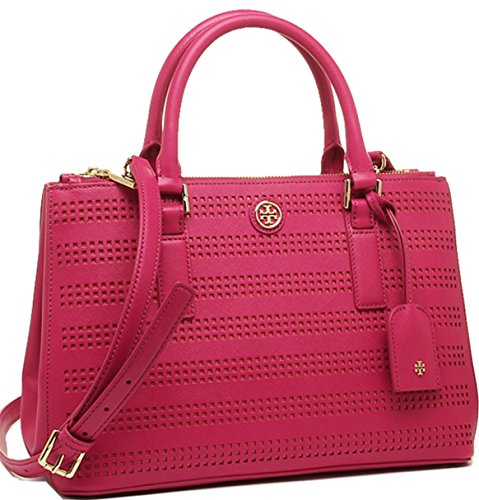 Tory burch Robinson Perf Micro Double Zip Tote in Carnation Red/Poppy