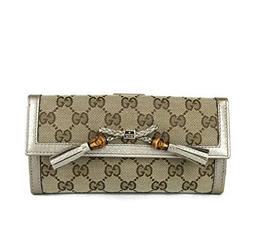 Gucci Beige GG Canvas Bamboo Tassel Continental Wallet 269981 8612