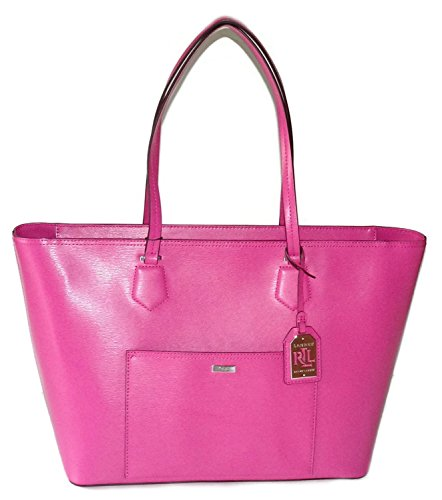 Ralph Lauren Leather Handbag Classic Tote Azalea Satchel