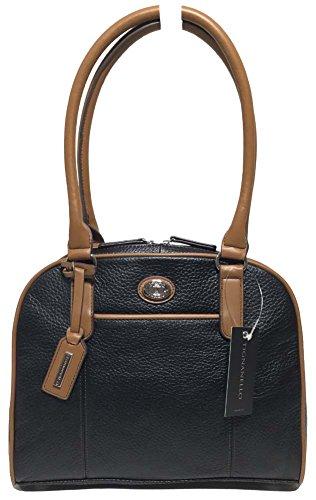 Tignanello Cambridge Dome Shopper, Black/Saddle, 68633411