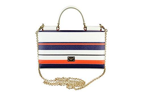 Dolce & Gabbana Womens Mini Von Baguette Handbag Striped Multi-Color Leather