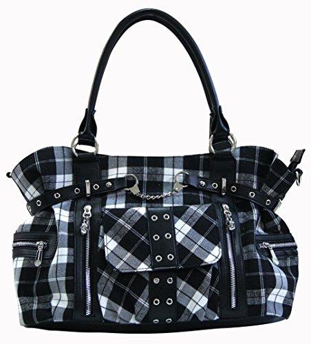 Banned Apparel Rise Up Handcuff Black White Tartan Plaid Crossbody Bag Purse