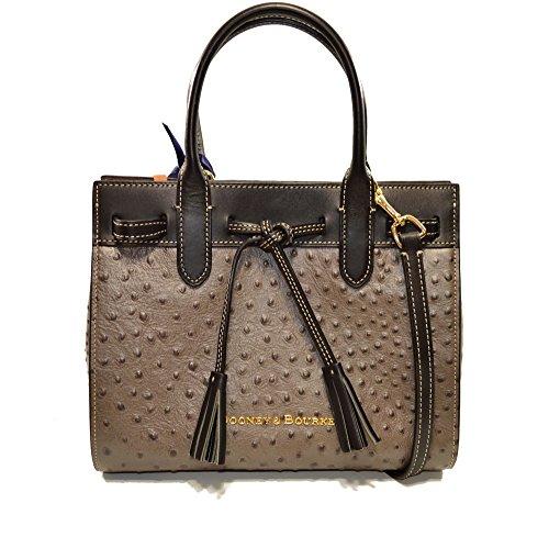 Dooney & Bourke Ariel Ostrich emb Leather Satchel xbody Pewter