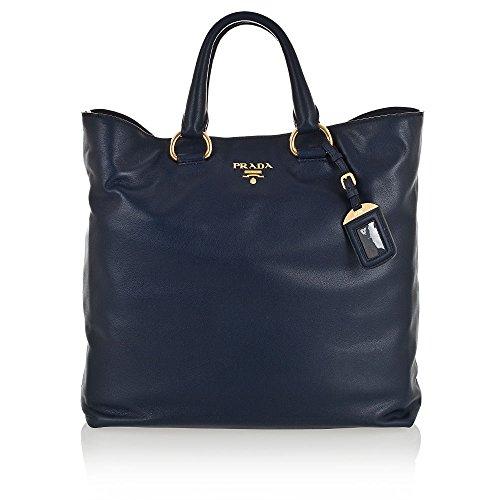 Prada Soft Calf Leather Shopping Tote Bag BN1713, Blue