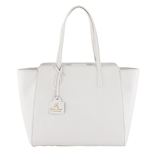 Shoulder bag, Tosca white, genuine leather, Dimensions in cm: 36 l x 29 h x 16 p