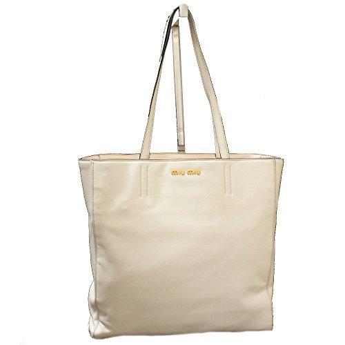Miu Miu Gesso Soft Calf Off White Leather Shopping Tote Bag Shoulder Handbag R1914S