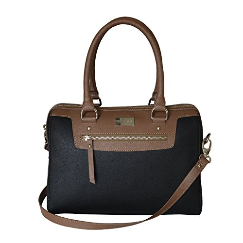 CROSS Women's Artificial Leather Evening Satchel Bag with Zip Compartment – Taupe/Black
