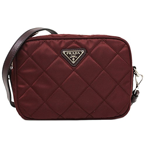 Prada Tessuto Impuntu Quilted Nylon and Leather Crossbody Shoulder Bag BT1028 – Burgundy Crimson Red