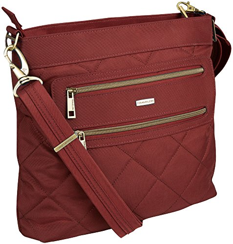 Travelon Anti-Theft Quilted 2 Zip Crossbody with RFID – Burgundy