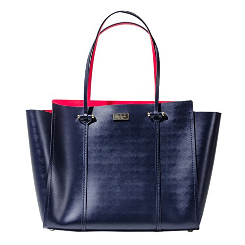 Kate Spade WKRU3573 513 Annelle Arbour Hill Indigo & Sweetheart Pink Leather Tote Bag