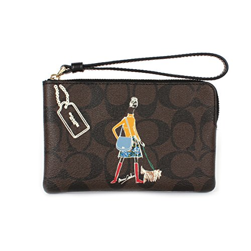 Coach Signature PVC Bonnie Cashin Corner Zip Wristlet F57586 Brown/Black