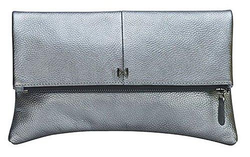 """Gemma"" Foldover, Pouch-Style Clutch Purse, Butter-soft, Pebble Leather, Gunmetal Zipper, Pewter."