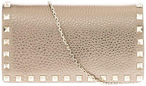 Valentino Women's Rockstud Rectangular Metallic Shoulder Bag Pewter