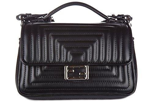 Fendi women's leather handbag shopping bag purse double micro baguette black