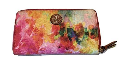 Tory Burch Cameron Continental Wallet Clutch Watercolor Multi Floral Handbag