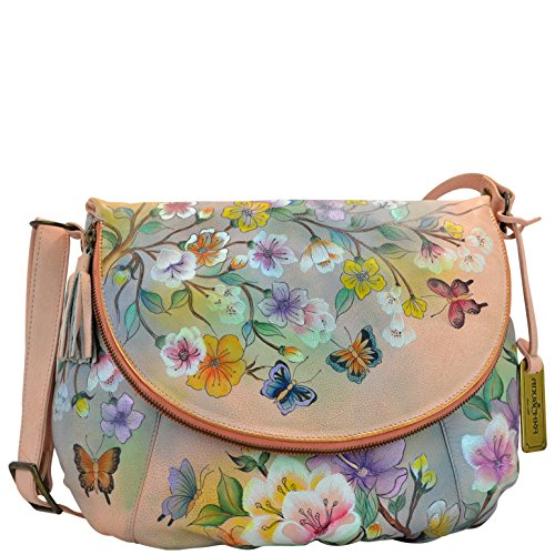 Anuschka Hand Painted Leather Large Flap-over Convertible (482 Japanese Garden