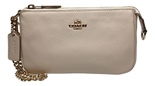 Coach Pebbled Leather Large Wristlet – Clutch 53340 Color Chalk