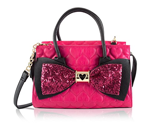 Betsey Johnson Quilted Heart Faux Leather Sequin Bow Fuschia Black Satchel Crossbody Shoulder Bag