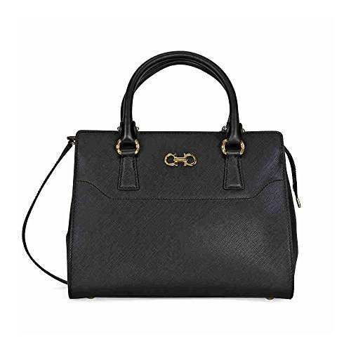 Ferragamo Small Double Gancio Leather Tote – Black