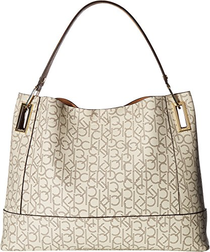 Calvin Klein Women's Logo Hobo Almond/Khaki/Cashew Handbag