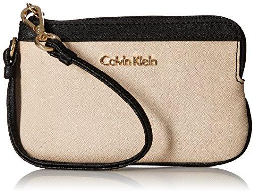 Calvin Klein Saffiano Wristlet, Wheat/Black Block