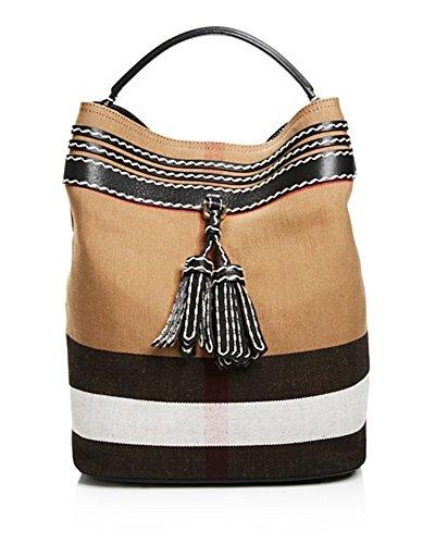Burberry Ashby Tassel Whipstitch Check Medium Hobo Shoulder Bag Black