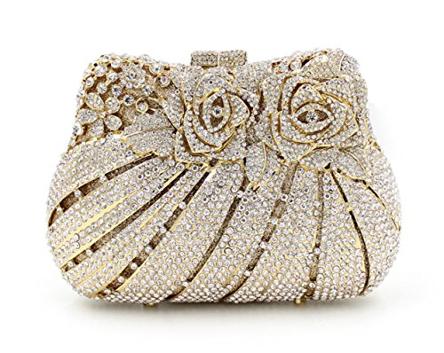 Flada Rose Flower Luxury Rhinestone Evening Clutch Bags Prom Party Bags Gold